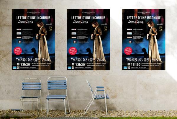 Mise en situation de l'affiche Lettre d'une belle inconnue pour le festival d'avignon