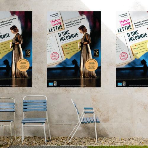 Mise en situation de la nouvelle affiche de théâtre de la Lettre d'une belle inconnue de Stefan Zweig avec Laetitia Lebacq