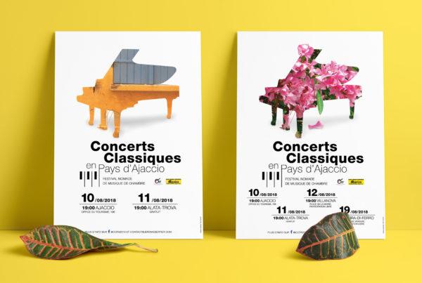 Mise en situation d'affiches conçues pour une série de concerts classique en Corse du Sud