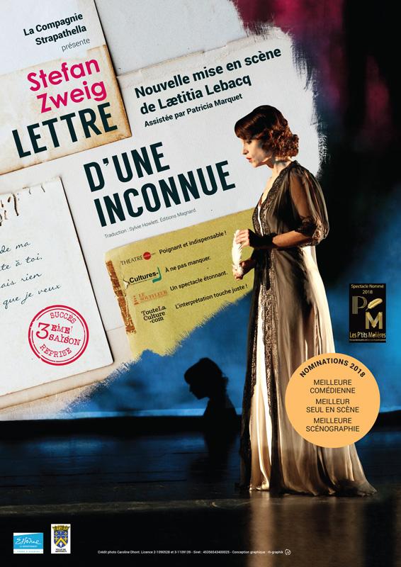 Affiche de la pièce de Théâtre Lettre d'une Inconnue de Stefan Zweig avec Laetitia Lebacq pour ses représentations à Paris