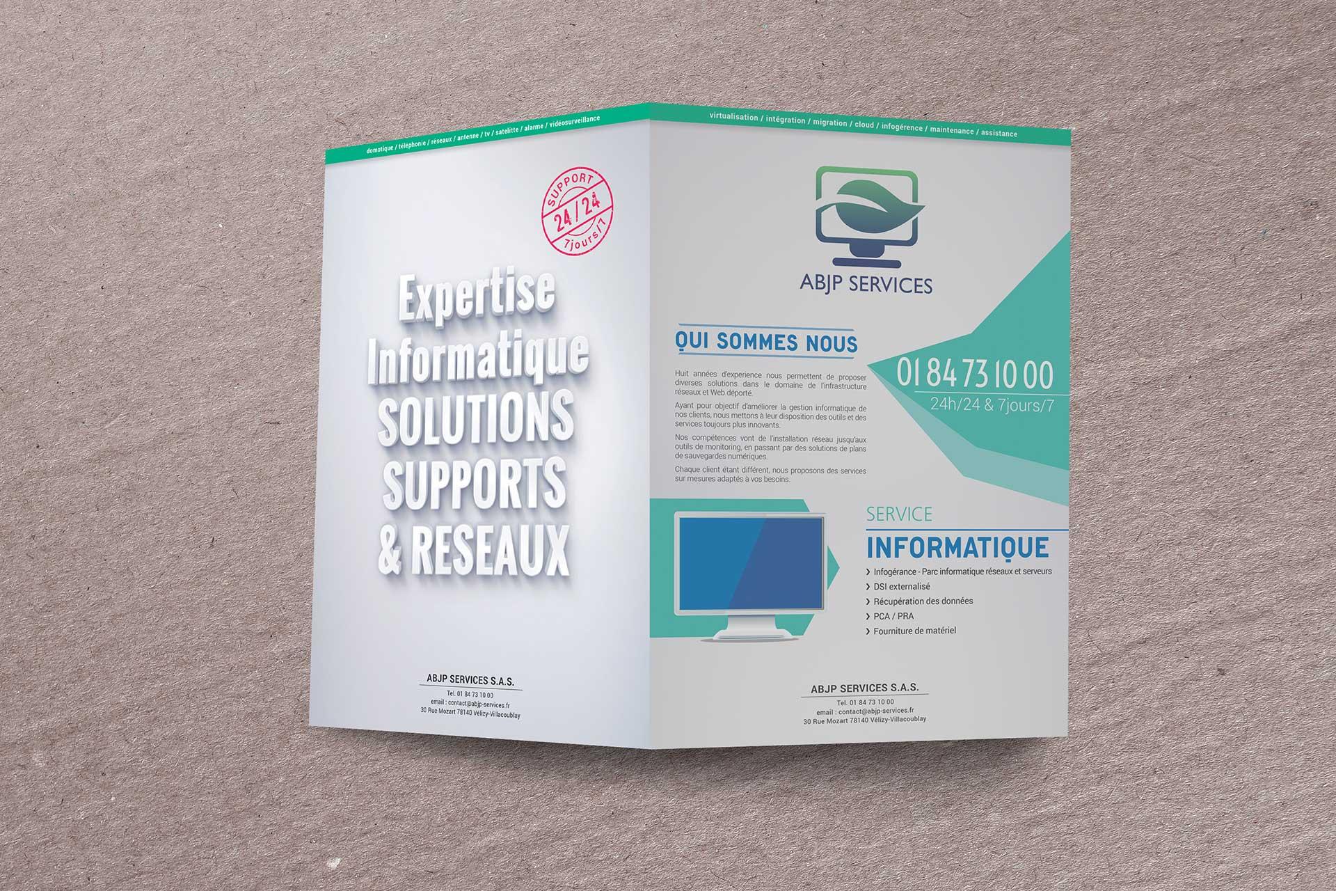 Plaquette commerciale pour la société ABJP Services à Vélizy-Villacoublay