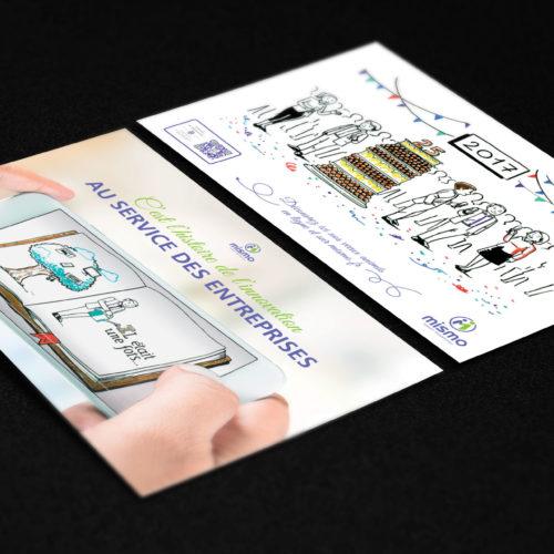 Carte de voeux 2 volets pour Mismo avec Videotelling