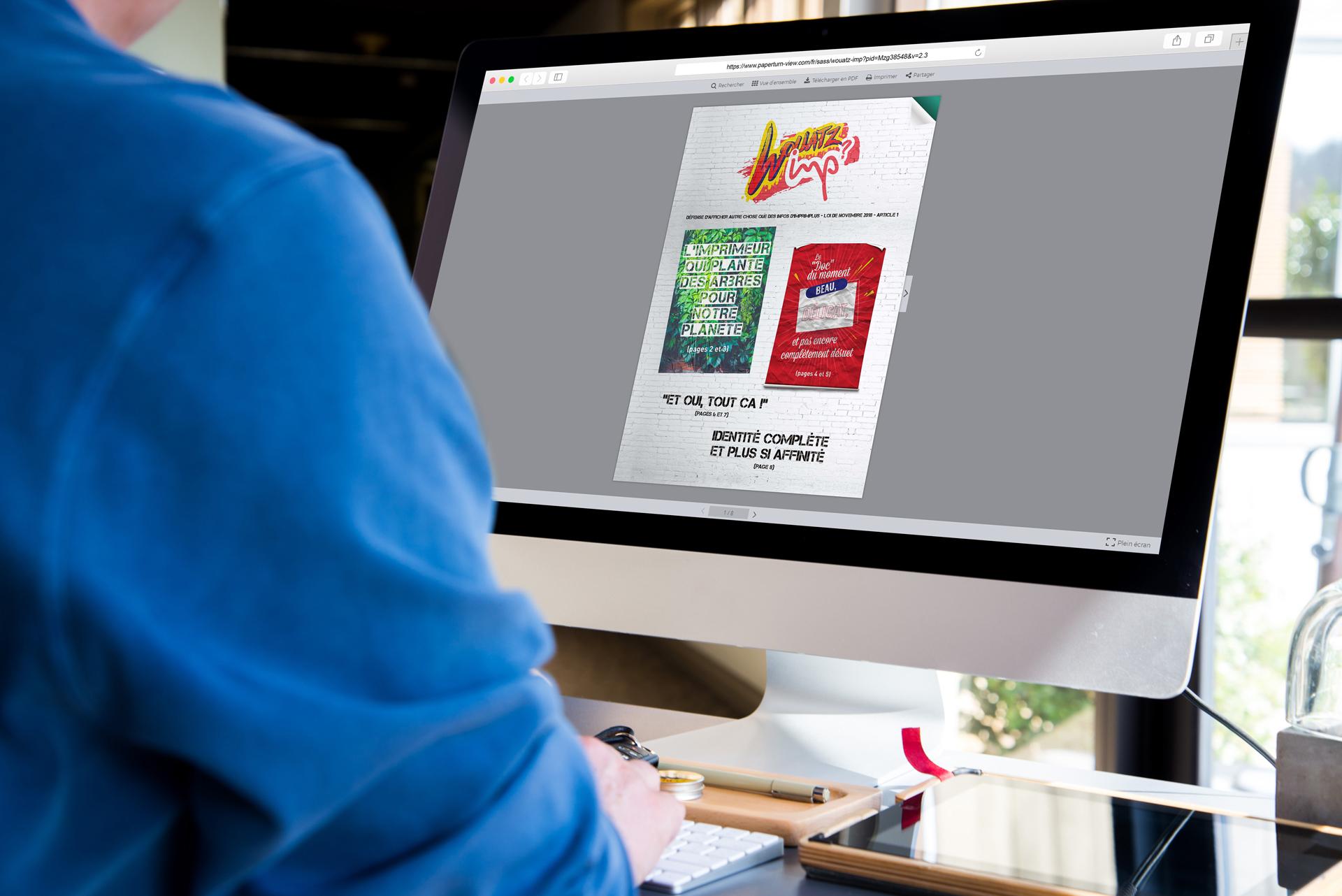 Conception newsletter HTML responsive Wouatz Imp et flipbook paperturn pour Imprim Plus