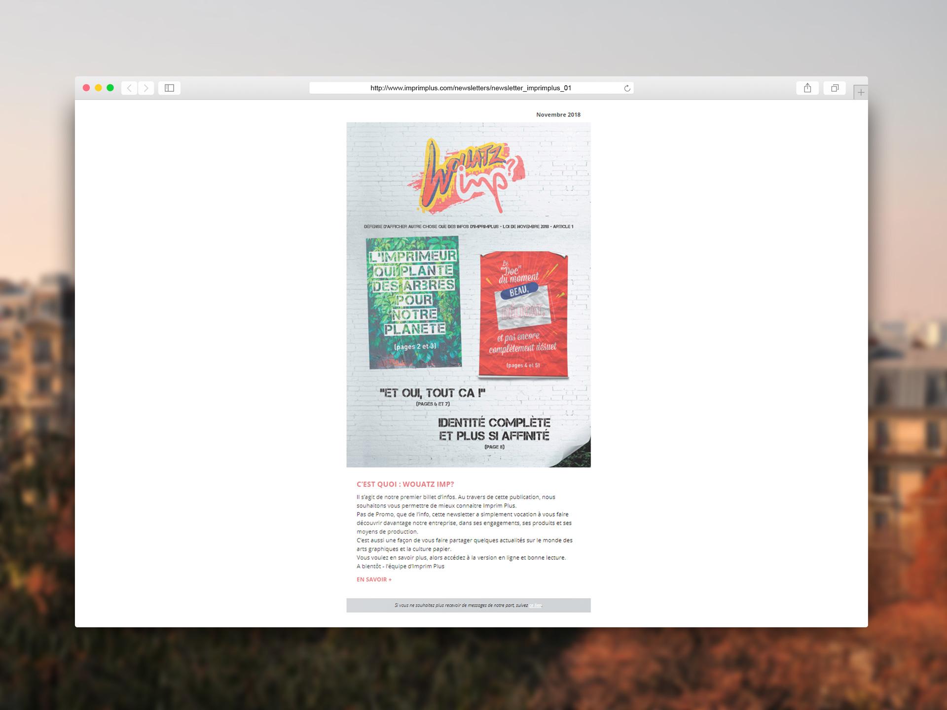Conception newsletter HTML Wouatz Imp pour Imprim Plus