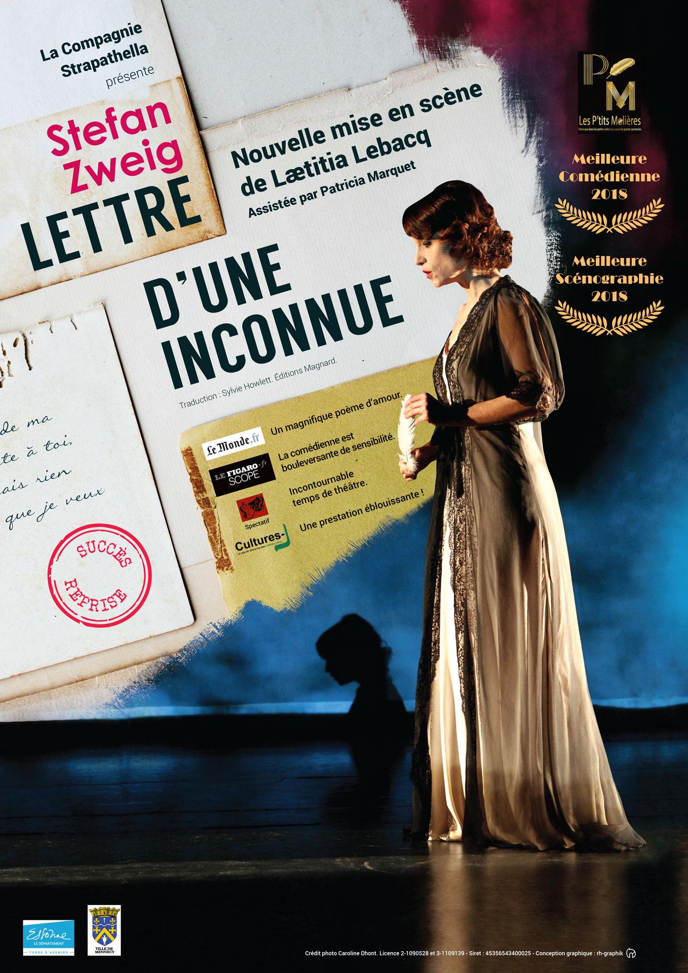 Affiche de la Lettre d'une inconnue avec Laetitia Lebacq