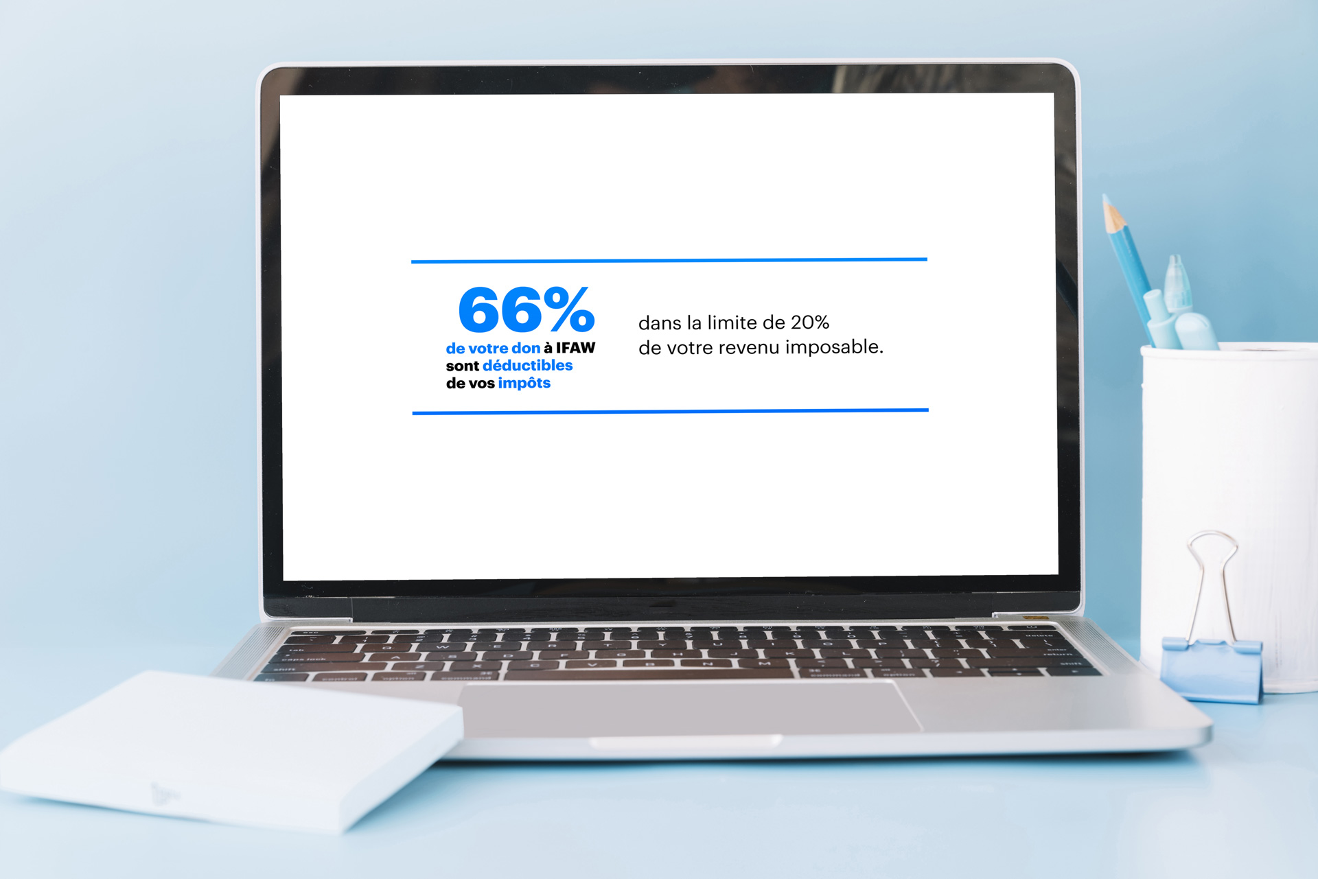 Bandeau web déductions fiscales pour IFAW