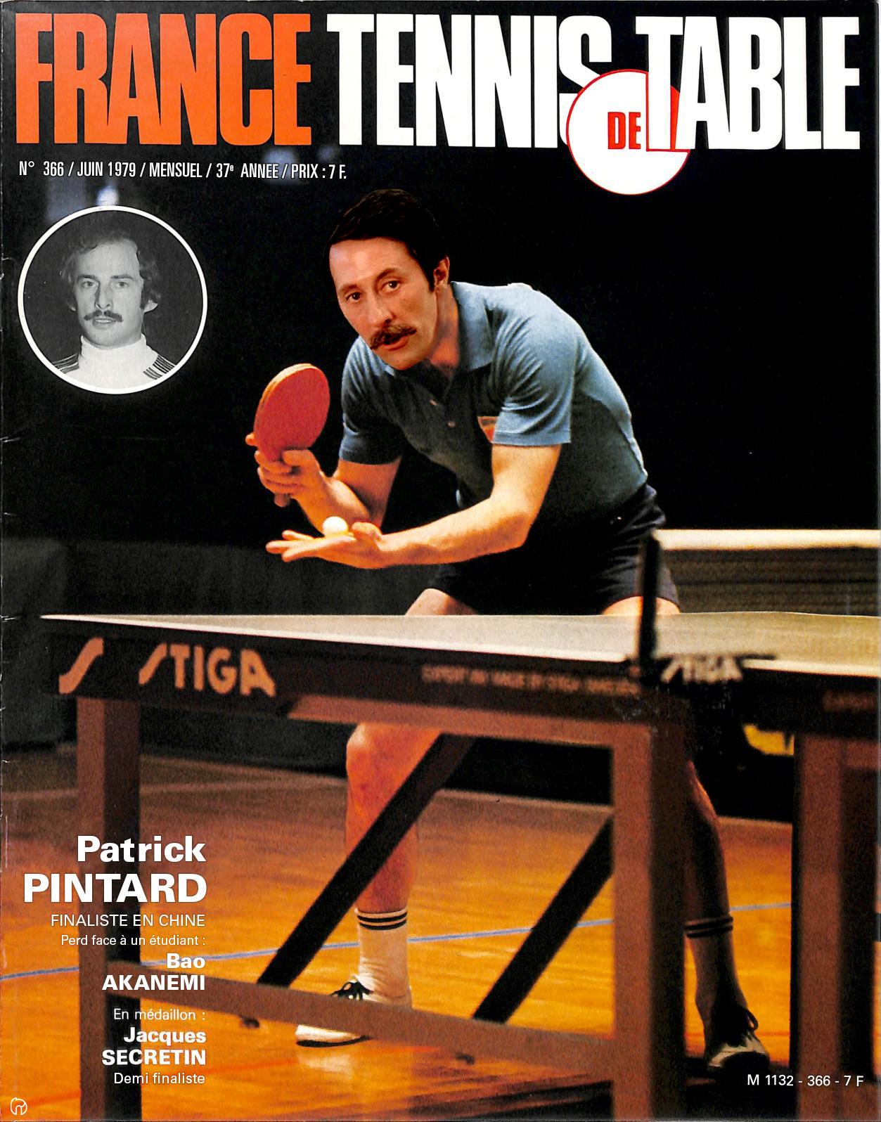Patrick Pintard en couverture de France Tennis de Table pour game of roles 1979