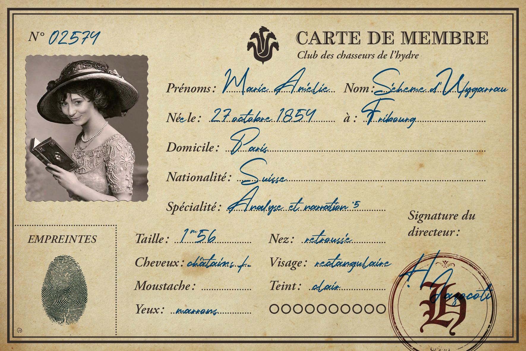 Premier rôle - carte de personnage - Marie Amélie