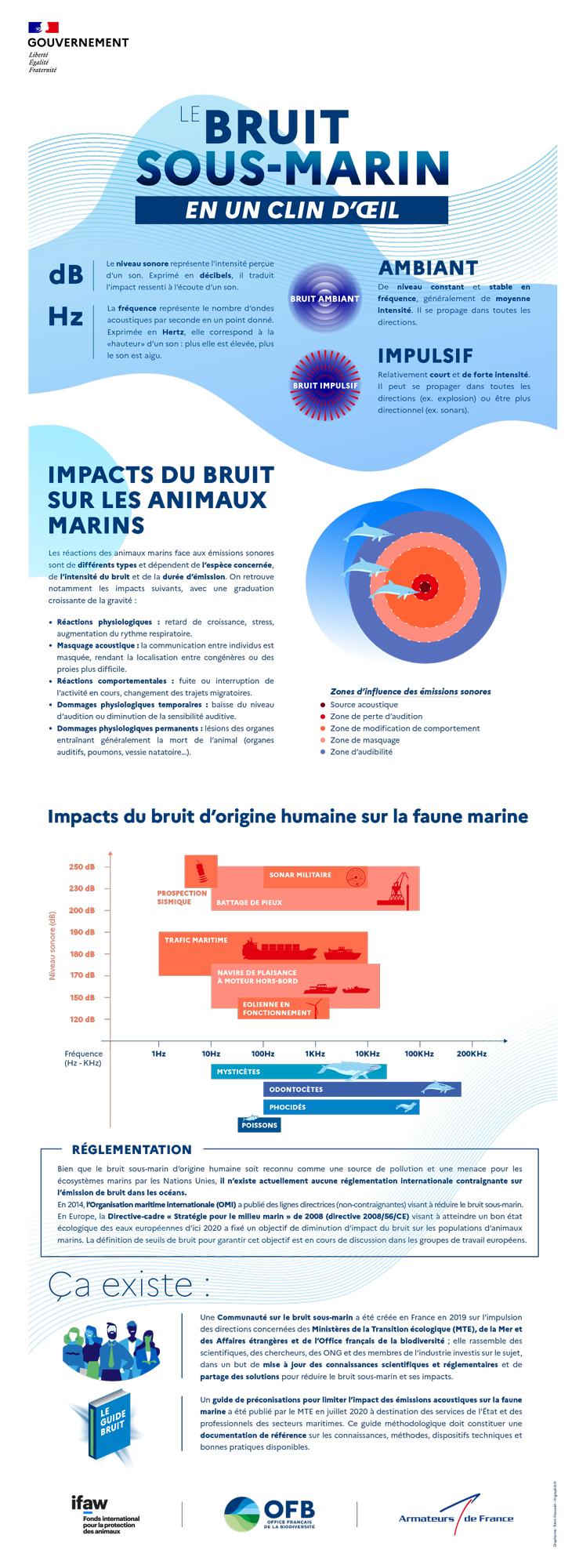 Infographie générique le bruit sous-marin